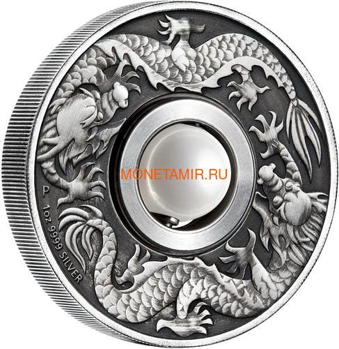 Тувалу 1 доллар 2017 Дракон и Жемчуг (Tuvalu 1$ 2017 Dragon & Pearl 1oz Siler Coin).Арт.92 (фото)