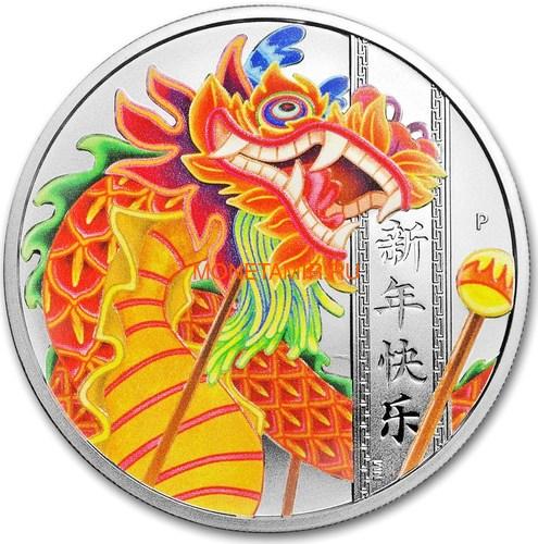 Тувалу 1 доллар 2019 Дракон Китайский Новый Год (Tuvalu 1$ 2019 Chinese New Year Dragon 1oz Siler Coin).Арт.92 (фото)