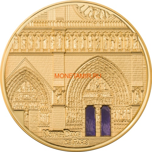 Палау 500 долларов 2021 Метрополис Нотр-Дам де Пари серия Тиффани (Palau 500$ 2021 Metropolis Notre-Dame Tiffany Art 5oz Gold Coin).Арт.92 (фото)