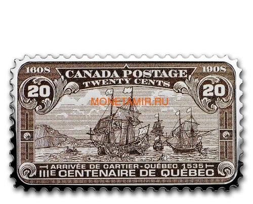 Канада 20 долларов 2019 Прибытие Картье Квебек 1535 серия Исторические Марки Канады (2019 Canada $20 Arrival of Cartier Quebec 1535 Canada's Historical Stamps 1oz Silver Coin).Арт.92 (фото)