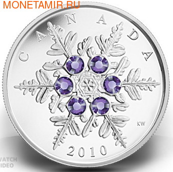 Канада 20 долларов 2010.Снежинка (танзанит).Арт.000269833165/60 (фото)