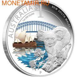 """Австралия 1 доллар 2010. """"Празднование Австралии"""" """"Новый Южный Уэльс"""" """"Коала"""""""