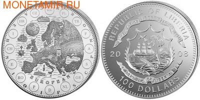Набор «Чемпионат Европы по футболу 2008». Либерия 100 долларов 2008. (фото)
