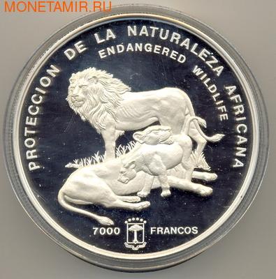 Экваториальная Гвинея 7000 франков 1992 Лев Семья Исчезающая Дикая Природа (Equatorial Guinea 7000 Francs 1992 Lion Family Endangered Wildlife 16 Oz Silver Coin).Арт. (фото)