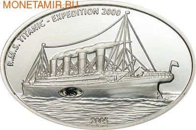 Либерия 10 долларов 2005.Корабль - Титаник (Вставка в виде кусочка угля).Арт.000100034125/60