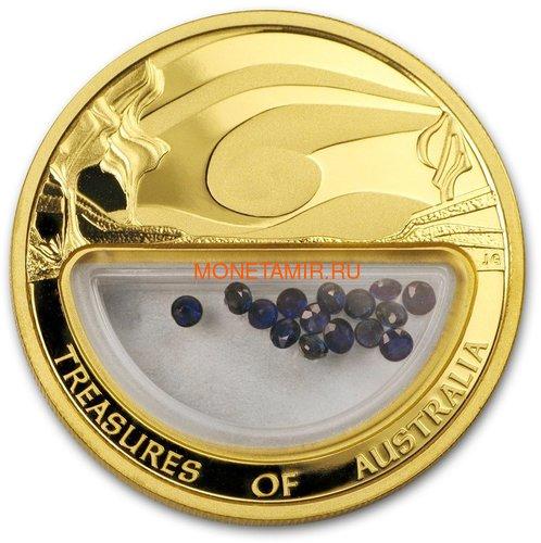 Австралия 100 долларов 2007 Сокровища Австралии Инкапсулированные Сапфиры (Australia 100$ 2007 Treasures of Australia Sapphires 1oz Gold Proof Coin).Арт.K3,5G (фото)