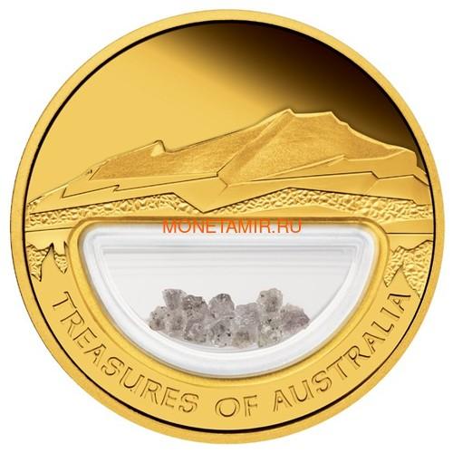 Австралия 100 долларов 2009 Сокровища Австралии Инкапсулированные Алмазы (Australia 100$ 2009 Treasures of Australia Diamonds 1oz Gold Proof Coin).Арт.K3,5G (фото)