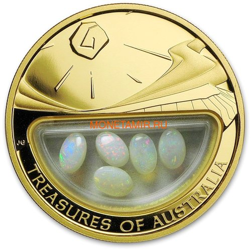 Австралия 100 долларов 2008 Сокровища Австралии Инкапсулированные Опалы (Australia 100$ 2008 Treasures of Australia Opals 1oz Gold Proof Coin).Арт.K3,5G (фото)