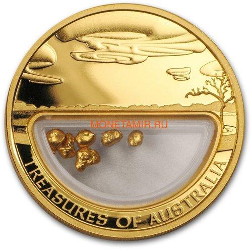 """Австралия 100 долларов 2010. """"Сокровища Австралии""""(с инкапсулированным золотом)"""