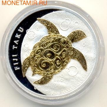 """Фиджи 2 доллара 2010.""""Морская черепаха Таку""""(позолота). (фото)"""