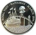 Багамы 2 доллара 1994 Королевский Визит Корабль Мост Маяк ( Bahamas 2$ 1994 Royal Visit Silver Coin).Арт.
