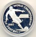 Чемпионат мира 1990. (Футболист с мячом). Ямайка 25 долларов 1990.