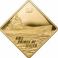 Палау 500 долларов 2009 Линкор Принц Уэльский Боевые Корабли (Palau 500$ 2009 HMS Prince of Wales Battleships 2,5oz Gold).Арт.60