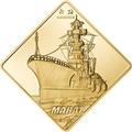 Палау 500 долларов 2010 Линкор Марат Боевые Корабли (Palau 500$ 2010 Marat Battleships 2,5oz Gold).Арт.60