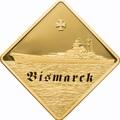 Палау 500 долларов 2009 Линкор Бисмарк Боевые Корабли (Palau 500$ 2009 The Bismarck Battleships 2,5oz Gold).Арт.60