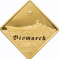 Палау 500 долларов 2009 Линкор Бисмарк Боевые Корабли (Palau 500$ 2009 The Bismarck Battleships 2,5oz Gold).Арт.60