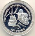 Барбадос 5 долларов 1995. Первое европейское поселение Барбадоса - 1625