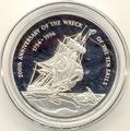 Каймановы острова 2 доллара 1994. Корабль.