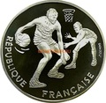 Франция 100 франков 1991 Баскетбол Два игрока (France 100 francs 1991 Basketball Silver Coin).Арт.000098637332/60
