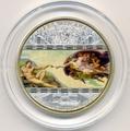 """Острова Кука 20 долларов 2008. """"Шедевры мирового искусства"""": """"Сотворение Адама"""""""