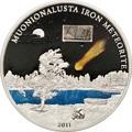 Острова Кука 5 долларов 2011 Метеорит Муонионалуста (Cook Islands 5$ 2011 Meteorite Muonionalusta).Арт.60