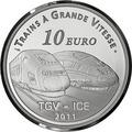 Франция 10 евро 2011. Вокзал города Мец и скоростные поезда TGV и ICE