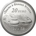 Франция 20 евро 2011. Вокзал города Мец и скоростные поезда TGV и ICE