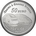 Франция 50 евро 2011. Вокзал города Мец и скоростные поезда TGV и ICE