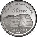Франция 50 евро 2012. Вокзал Лионский имени Сент-Экзюпери и скоростные электропоезда серии TGV Sud-Est