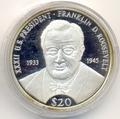Президент - Франклин Делано Рузвельт. Либерия 20 долларов 2000. Арт: 154406