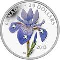 Канада 20 долларов 2013 Цветок Ирис Голубой Флаг Капля Дождя (Canada 20C$ 2013 Flower Blue Flag Iris Raindrop Swarovski Silver Proof).Арт.000338442914/67