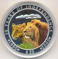 Намибия 20 долларов 2000.Львы - 10 годовщина республики Намибия.Арт.001000043429/60