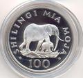Слоны. Танзания 100 шиллингов 1986.