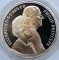 Елизавета II и Принц Филипп. Золотая свадьба. Великобритания 5 фунтов 1997.