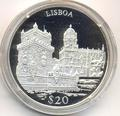 Либерия 20 долларов 2000. Города мира. Лиссабон.
