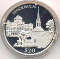 Либерия 20 долларов 2000. Города мира. Стокгольм.