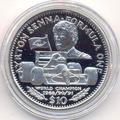 Формула-1. Сенна Айртон. Либерия 10 долларов 1992.