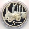 Паровой трактор. Австралия 5 долларов 1997.