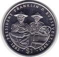 Франклин и Рузвельт на автомобиле. Либерия 1 доллар 1995.