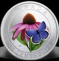 Канада 25 центов 2013. Эхинацея пурпурная и бабочка