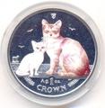 Остров Мэн 1 крона 2008. «Бурмилла и котенок»(эмаль) серия «Кошки».Арт.000148218325
