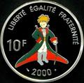 "Франция 10 франков 2000. Антуан де Сент-Экзюпери ""Маленький принц"".Арт.000271218599"