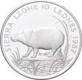 Сьерра Леоне 10 леоне 1987.Карликовый бегемот.Арт.000113247630/60