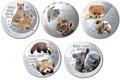 Ниуэ 1 доллар 2014. Набор 5 монет. Мир симпатичных щенков – Шиба-Ину, Тигр, Померанский шпиц, Красная панда, Коала. Арт.000247747799