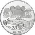 Франция 20 евро 2009. Автомобили – Этторе Бугатти.