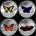 Демократическая Республика Конго 4х30 франков 2014.Набор из четырех монет. Прекрасные бабочки – ультрафиолет.Арт.000775847927