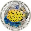 Палау 5 долларов 2014.Рыба – Желтый пятнистый кубик – Защита морской жизни.000225448854/60