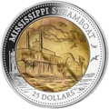 Острова Кука 25 долларов 2015 Пароход Миссисипи Перламутр (Cook Isl 25$ 2015 Mississippi Steamboat Mother of Pearl 5Oz Silver Coin Proof).Арт.001891250055