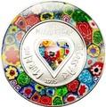 Острова Кука 5 долларов 2015.Сердце – Муранское (Венецианское) стекло Искусство Миллефиори.