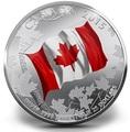 Канада 25 долларов 2015.Флаг Канады - 50 лет.